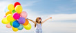 canvas print picture - happy girl with colorful balloons