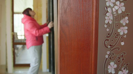 Customer looking for new internal door in the doors store