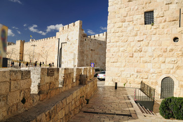 Square in front of  Jaffa gate of Jerusalem old city.