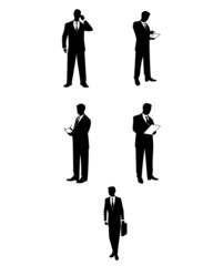 Businessmen silhouettes with accessories