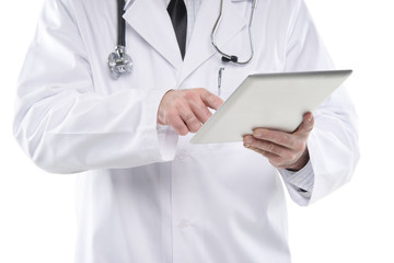 Close up male medical doctor using digital tablet pc. Isolated o