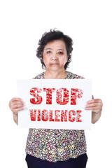 Senior abuse or elder mistreatment holding Stop violence paper.
