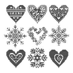 winter love seamless black heart set