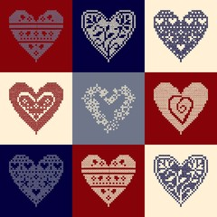 pattern with collection hearts in vintage patchwork style.