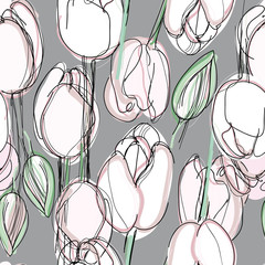 Floral seamless pattern / Sketch of light pink tulips