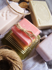 Bath spa setting with natural soaps