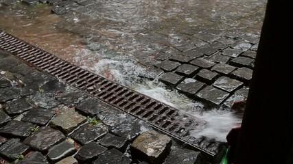 Water Flows through the Drain Trough