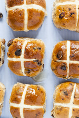 Hot cross buns, Ariel view of spiced sweet bread