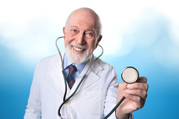 a doctor ready to work on blue background