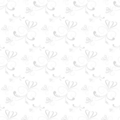 Swirl Floral Seamless Pattern-Grey and White