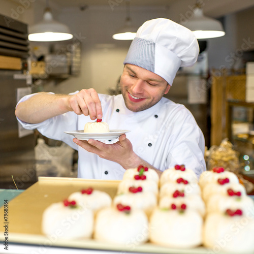 Confectioner with cakes