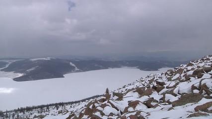 "Frozen Lake Sut-Khol (""Milky Lake""). Tuva, Siberia, Russia"