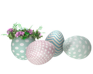 Background with easter eggs isolated on white
