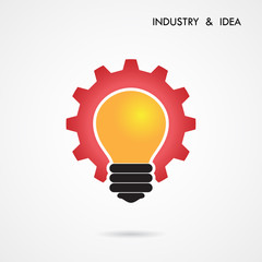 Creative light bulb and gear abstract vector design banner templ
