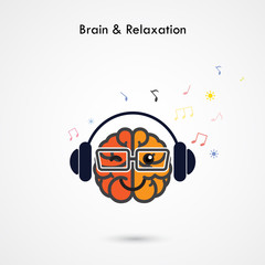 Creative left and right brain sign with the headphone on backgro
