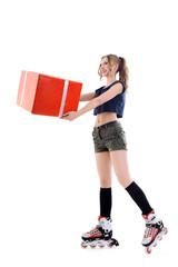 Girl on roller skates holding a present