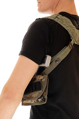 Soldier with holster and handgun.