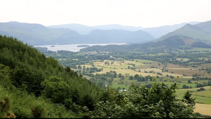 Mopuntains and Derwent water Lake District Cumbria uk