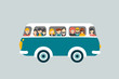 Retro bus with passengers. - 79689739