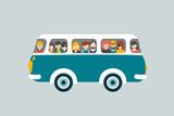 Retro bus with passengers. - 79689739