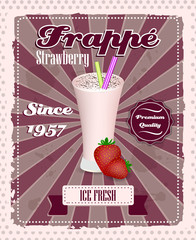 Strawberry frappe poster, strew and glass in retro style