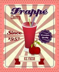 Cherry frappe poster, drinking strew and glass in retro style