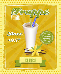 Vanilla frappe poster, drinking strew and glass in retro style