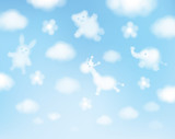 Fototapety Vector sky background, animals cartoons.
