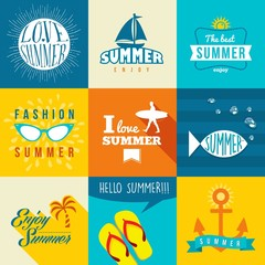 Summer flat label set illustration