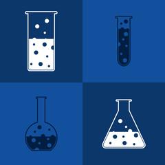 Chemical test-tube on blue background