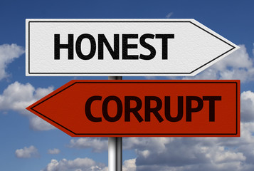 Creative sign with the text - Honest x Corrupt