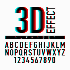 3D effect alphabet and numbers