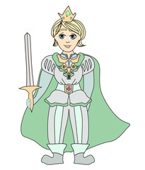 Funny cartoon prince on white background