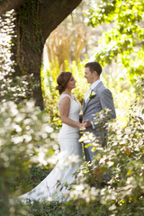 Newly married couple in the garden