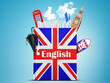English language textbook with the British flag and umbrella - 79692738