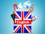 Fototapety English language textbook with the British flag and umbrella