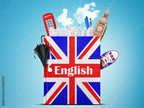English language textbook with the British flag and umbrella - 79692738