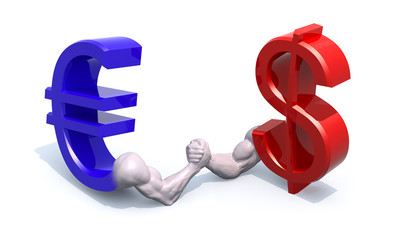 euro and dollar symbol currency make arm wrestling