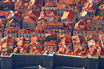 Red tile roofs of the old city.Dubrovnik.Croatia.