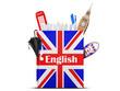roleta: English language textbook with the British flag and umbrella