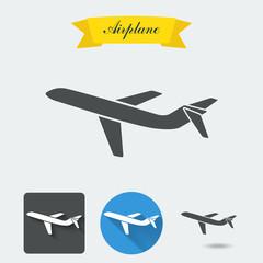 Airplane set.  Set elements for design. Vector illustration.