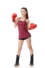 Confident boxing girl