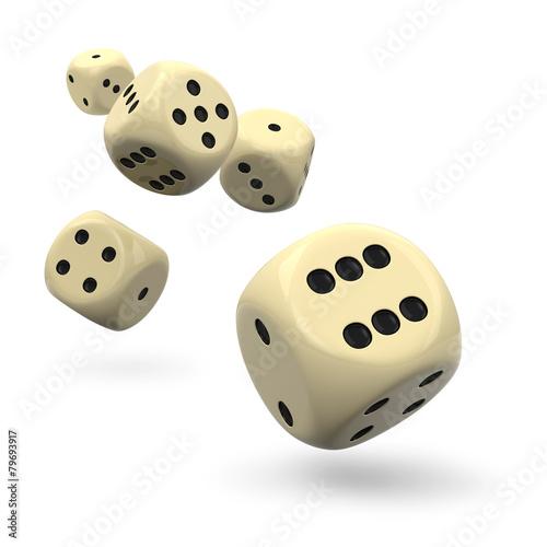 Leinwanddruck Bild Würfel, Spielwürfel, fliegend, Wurf, Zocker, Casino, 3D, Dices