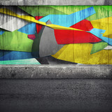 Abstract 3d graffiti fragment on the concrete wall - 79694586
