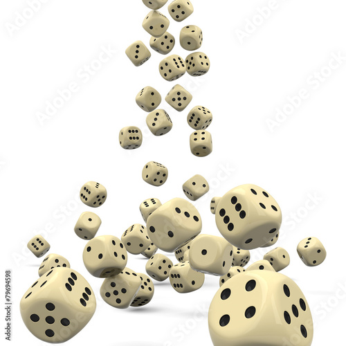 Leinwandbild Motiv Würfel, Spielwürfel, fallend, Glücksspiel, Casino, Kasino, Dices