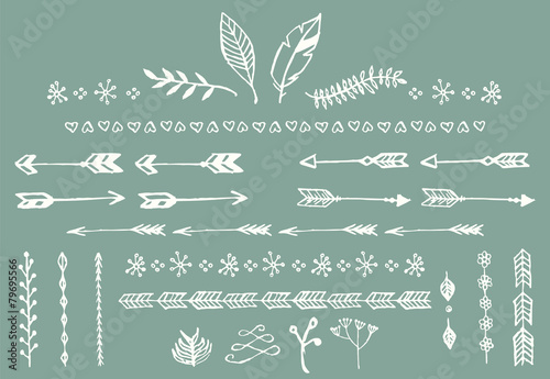 Hand drawn vintage arrows, feathers, dividers and floral poster