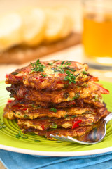 Vegetable and egg fritter made of zucchini, pepper, eggs