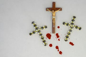 crucifix and blood