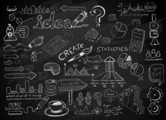Social Media doodles Sketch set with infographics elements