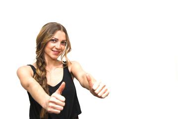Beautiful  Woman  With The Thumb Upwards